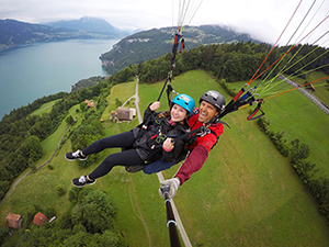 UAlbany student skydiving in Switzerland