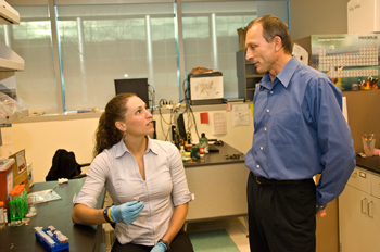 UAlbany Associate Professor of Chemistry Igor Lednev and recent graduate Kelly Virkler