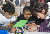 Students with Lego model
