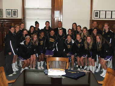Women's lacrosse team meets with mayor Jerry Jennings