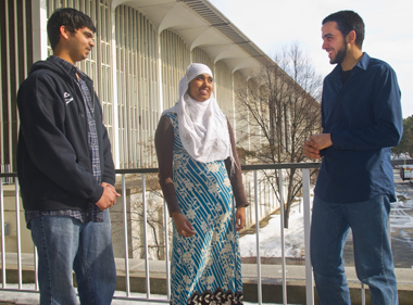 From left, Junaid Maqsood, Bibi Yasin, and Ashraf Khater
