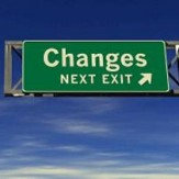 A road sign says 'changes'