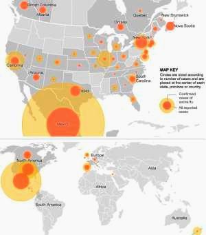 Map showing spread of swine flu.
