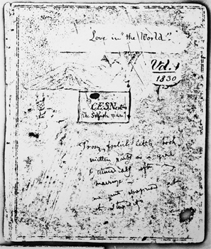 Manuscript cover page for Caroline Norton's unpublished first novel.