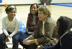 Department of Health official talks with Albany teens.