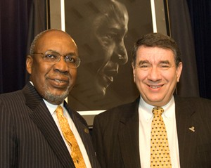 Dr. Frank Pogue, Chicago State University interim president, and UAlbany Interim President George M. Philip