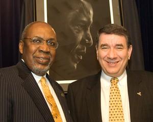 Dr. Frank Pogue, Chicago State University interim president, and UAlbany Interim President George M. Philip