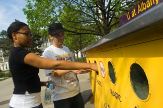 More students and faculty are recycling at UAlbany.