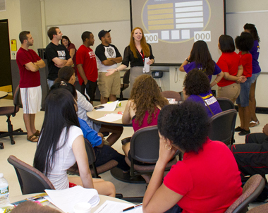 UAlbany alumna Colleen Dundas training Resident Assistants.