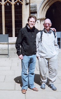 UAlbany alumnus Daniel R. Koch and long-time mentor Warren Roberts in England.