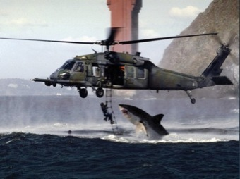 This is a composite image of a U.S. Air Force photo (inverted) of an HH-60G Pave Hawk helicopter during a rescue diver training session in San Francisco Bay and a still shot of a great white shark breaching the ocean surface.