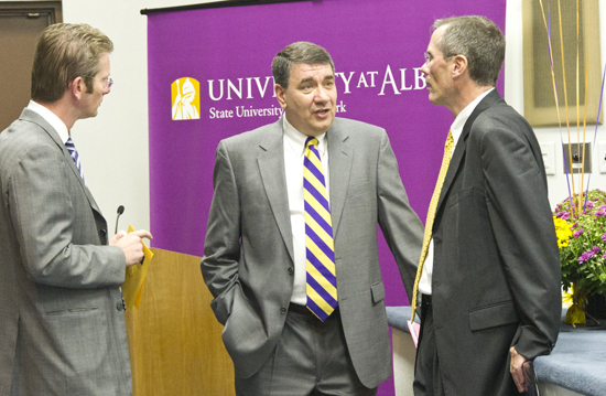 From left, University Council Chair Dan Tomson, UAlbany President George M. Philip and N.Y.S. Commissioner of Health Richard F. Daines, M.D.