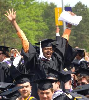 UAlbany student celebrates graduation Spring 2009.