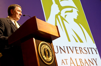 President Philip announces the new UAlbany Strategic Plan on Jan. 26