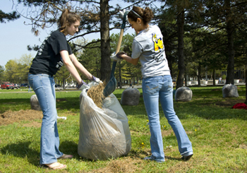 students clean up campus