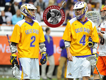Miles and Lyle Thompson of the UAlbany Great Danes Men's Lacrosse Team