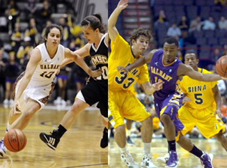 UAlbany's Lindsey Lowrie and Mike Black in action