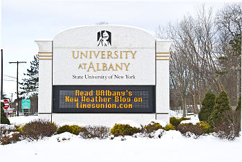 University sign announces new DAES weather blog