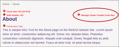 Manage Center Content Links Box red dot