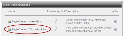 List of Conten Classes window with Page Content - Text with links option