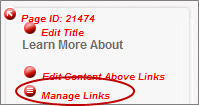 Manage Links red dot
