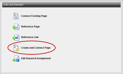 Edit Link Element window with Create and Connect Page option