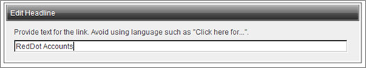 Edit Headline window