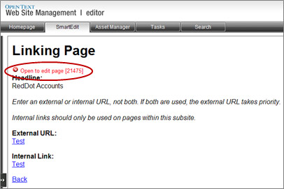 Linking Page window with Open to edit page red dot