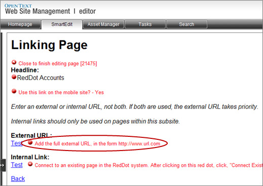 Linking Page window with Add the full external URL red dot