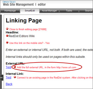 Add the full external URL, in the form http://www.url.com red dot