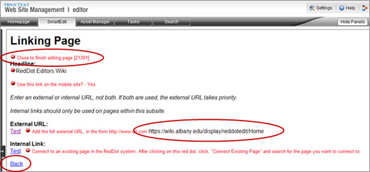 Linking Page window with Close to finish editing red dot