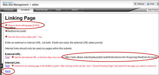 Linking Page with Close to finish editing page red dot