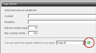 Page search by page id button