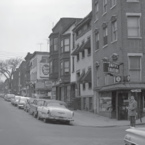 Corner of Hudson Street and High Street, 1963; current approximate location of the Egg