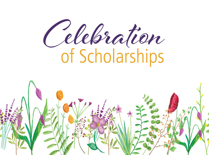 Celebration of Scholarships with illustration of flowers