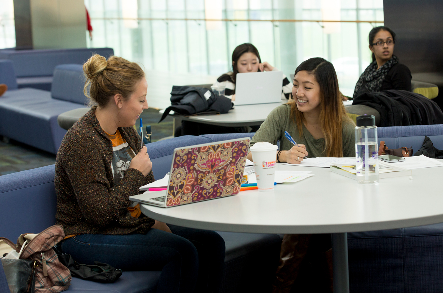 Students studying in a study lounge