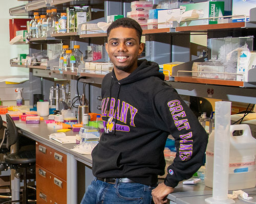 Stephon Charles in the lab where he is works as a researcher