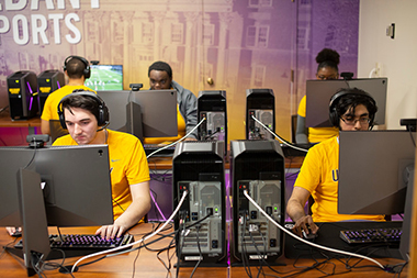 UAlbany's eSports arena is equipped with a dozen high-performance Alienware Computers and six Nintendo Switch consoles.
