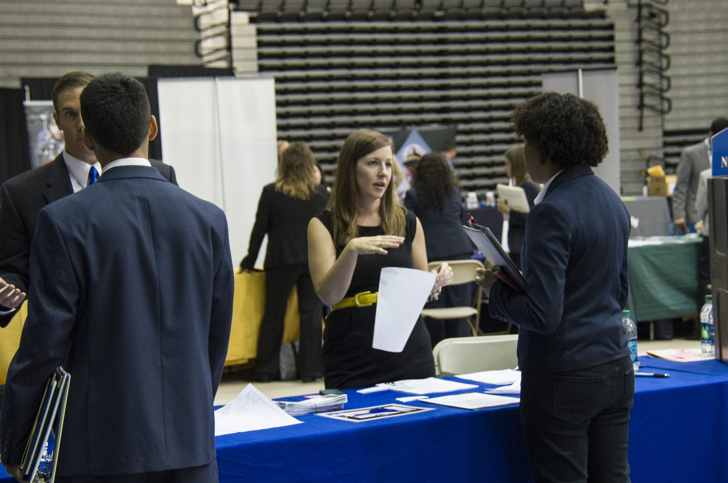 Employer speaking to student at School of Business Career Fair