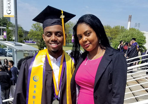 Stephon Charles and his mom celebrate at Commencement