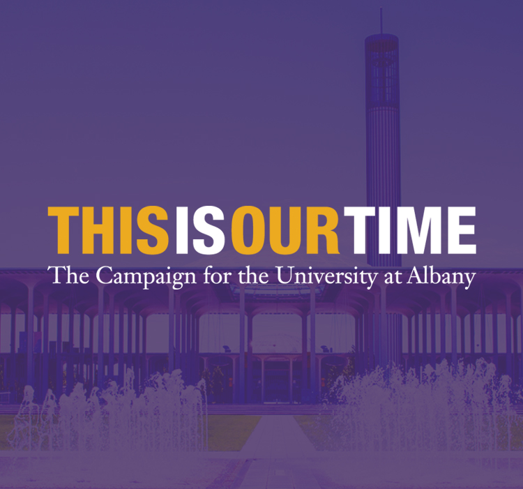 UAlbany main fountain with purple overlay and This Is Our Time logo
