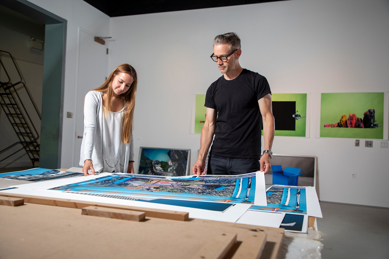 Danny Goodwin and Julia Abbot with artwork