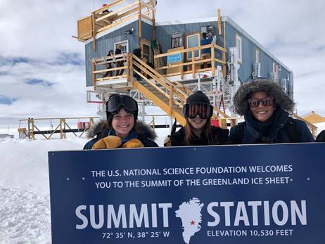 Undergraduate student researchers at the summit of the Greenland Ice Sheet