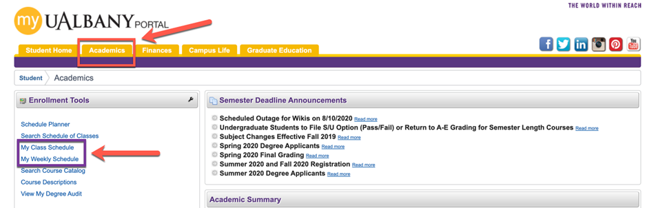 A screenshot showing how to check your class schedule on MyUAlbany