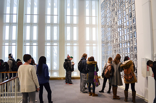 Visitors to the University Art Museum enjoying an installation on the second floor.