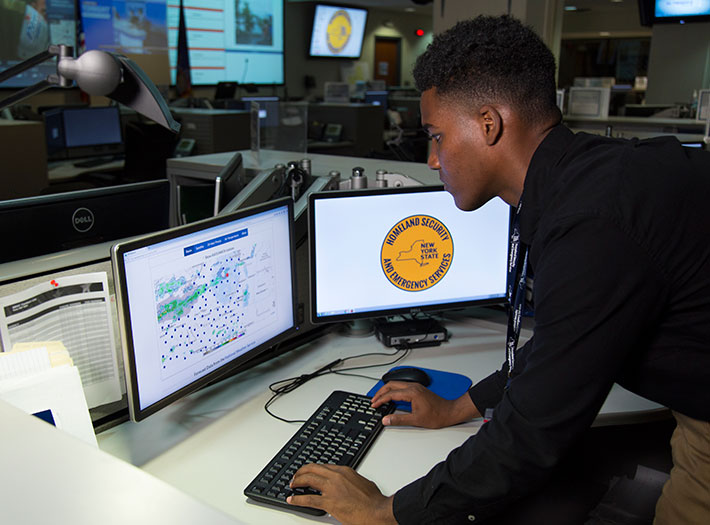 Student works at New York State Office of Homeland Security and Emergency Services