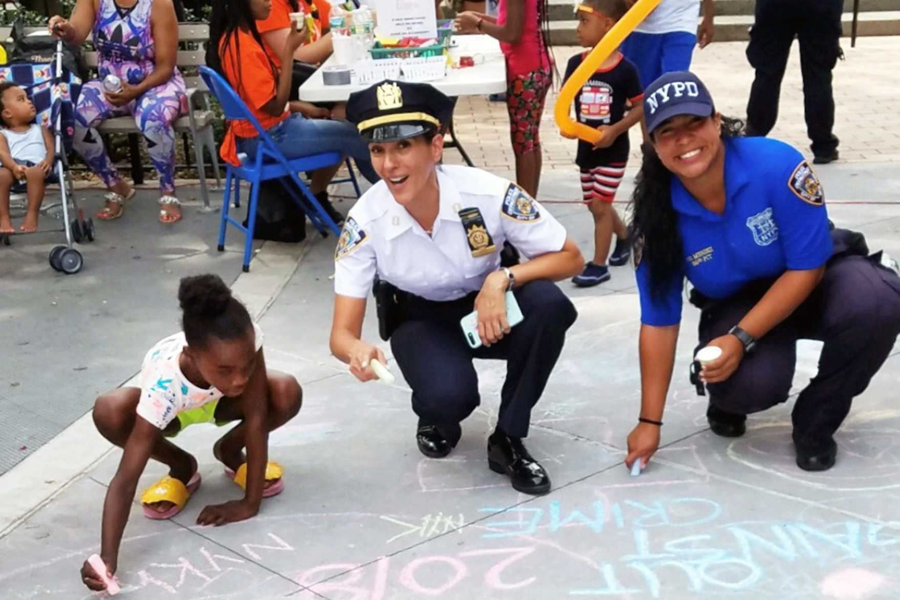 Police officers participating in a community event