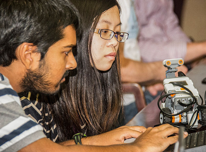 Students work on robotics project
