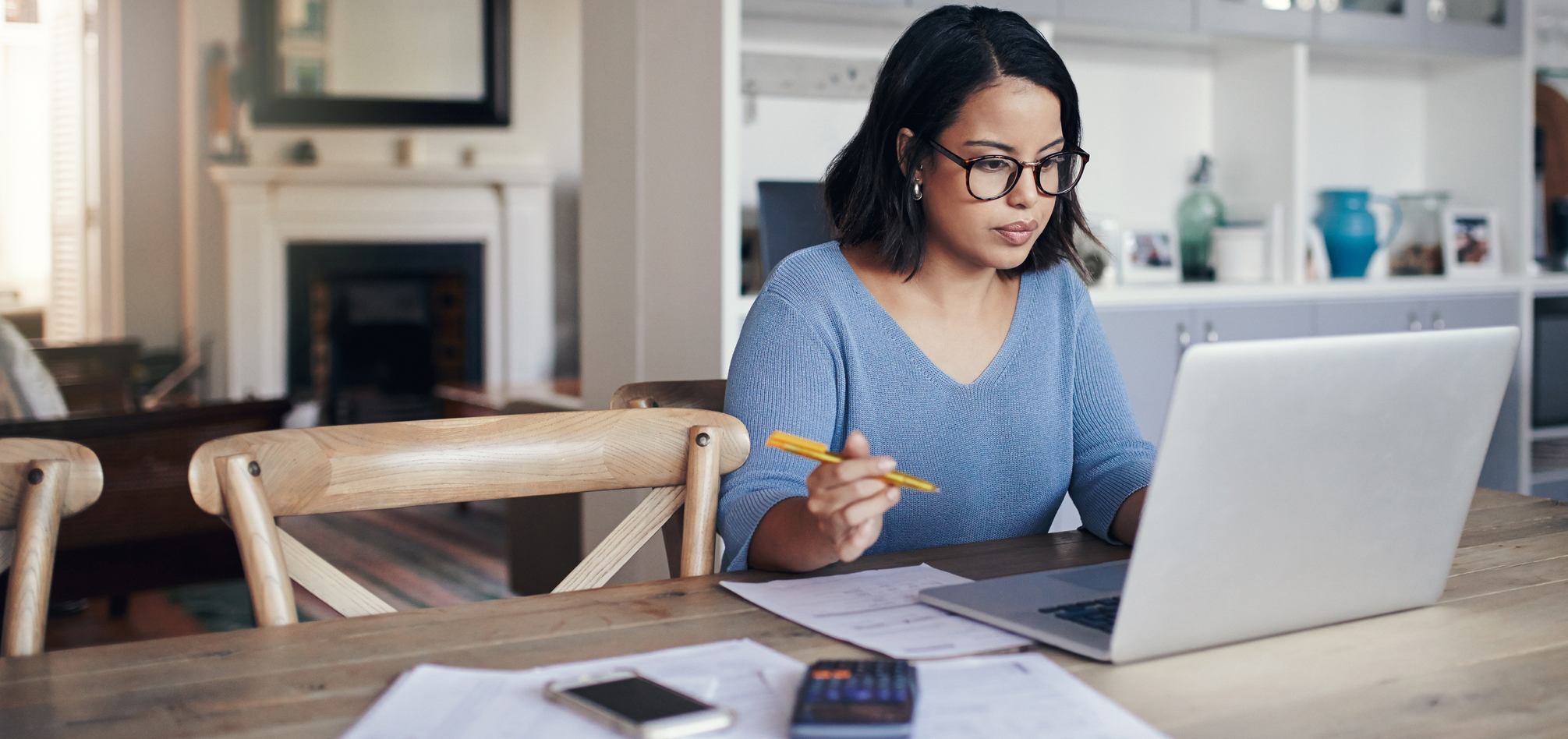 Woman studying on a laptop