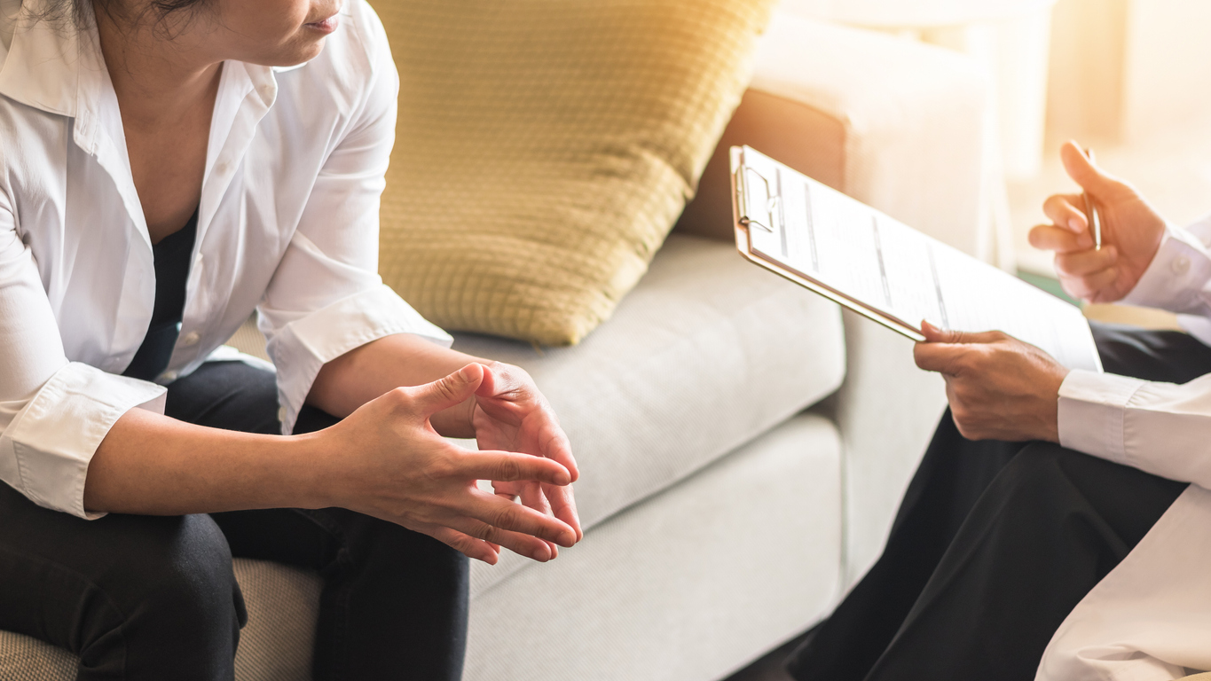 Psychiatrist and patient consultation